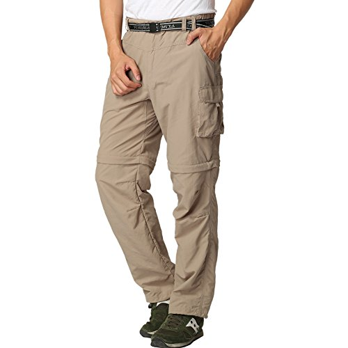 (FLYGAGA Men's Outdoor Quick Dry Convertible Lightweight Hiking Fishing Zip Off Cargo Work Pant M Khaki)