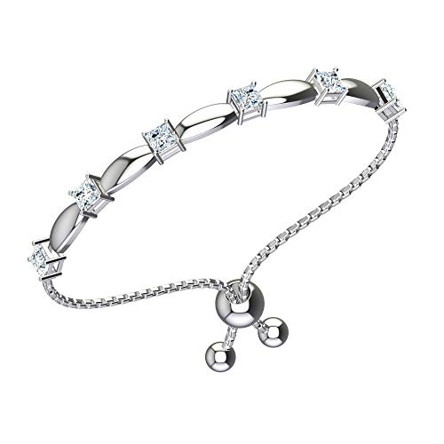 Belinda Jewelz Womens 925 Sterling Silver Sparkling Square Bolo Gemstone Adjustable Tennis Style Pull String Birthstone Jewelry Fine Bracelet, 2.5 Carat Natural White Topaz, 11 Inch Box Chain