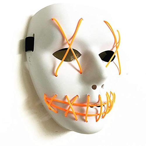 SKSNBMJ Voice Control Glowing Mask Halloween EL Mask LED Stage Performance Props Mask,B -