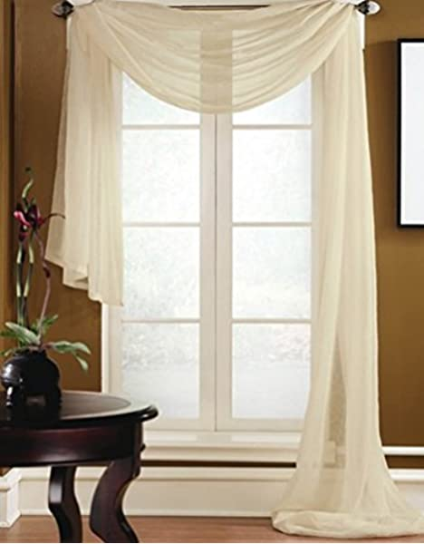 Door Window Curtain Valance Elegant Sheer Voile Drape Panel Sheer Scarf Pelmet C
