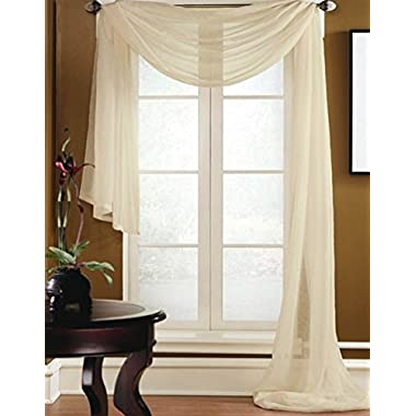 Gorgeous Home 1 PC SOLID BEIGE SCARF VALANCE SOFT SHEER VOILE WINDOW PANEL CURTAIN 216  LONG TOPPER SWAG