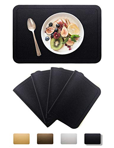 Alpiriral Dining PlaceMats Heat Resistant PlaceMats Easy to Wipe Off Scrub Vinyl Place Mats Washable Table Mats Protect A Table from Messes & with A Nice Looking (Black, Set of 4)