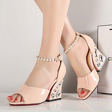 LFNLYX Sandalias de mujer el confort estival del Tobillo PU Office & Carrera & fiesta vestido de noche Chunky talón BuckleBlue Rhinestone imitación perla Pink
