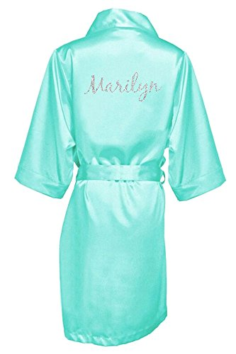 Women's Aqua Satin Custom Name in Glitter Robe S/M 4-12