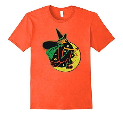 Mens Vintage Halloween Decoration Moon Witch t-shirt 2XL Orange