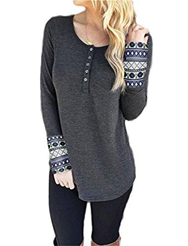 SHUNLIU Frauen lange Ärmel Scoop Neck Bluse Geometrische Grafiken Henley T-Shirt