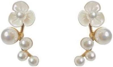NOBRAND Aguja de Plata Shell Temperamento de Perlas pétalos Perno Prisionero Pendientes Temperamento Retro Simple de la Moda de Ciruela Perla Joyería Nupcial (Color : Plum Blossom Pearl Studs)