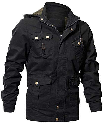 chouyatou Man's Cotton Military Style Zip-Front Drawstring Hooded Bomber Jackets (Black, Large)