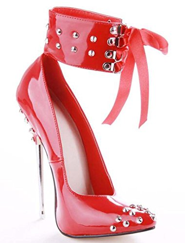 Rojo Purple fiesta Fall Spring Stiletto y Black de para de mujer cuero sintético Zapatos Heel Red noche vwxa6qRCU