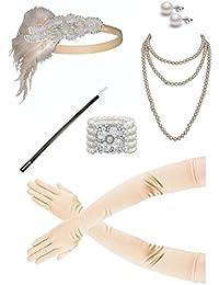 1920s Accessories Flapper Costume for Women Headpiece Cigarette Necklace Gloves