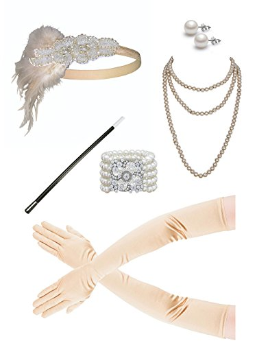 Zivyes 1920s Accessories Flapper Costume for Women Headpiece Cigarette Necklace Gloves (Pearl Flapper)