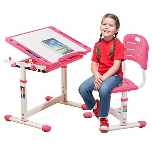 Children Desk Kids Study Child School Adjustable Height Children's Table Chair Set with Storage for Kids-Pink