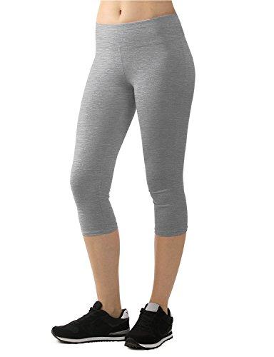 LL WB963 Womens Tights Capri Knee Length Yoga Legging Pants M HEATHER_GREY (Women Capri Tights)