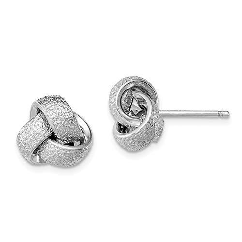 Mm Ring Satin 10 - 10mm Polished and Satin Love Knot Earrings in Sterling Silver