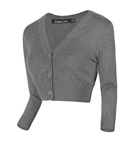 (Urban CoCo Women's Cropped Cardigan V-Neck Button Down Knitted Sweater 3/4 Sleeve (L, Heather Gray))