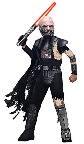 Costume Battle Vader Darth Damaged (UHC Boy's Battle Damaged Darth Vader Outfit Child Fancy Dress Halloween Costume, Child S)