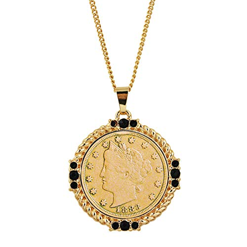 American Coin Treasures Gold Layered Liberty Nickel Medallion Goldtone Necklace Pendant-with Faceted Round Jet Glass Stones | Liberty Nickel Medallion Pendant | Layered in 24 KT ()