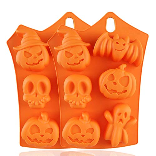 SunTrade 6-Cavity Halloween Pumpkin Molds Silicone Decorations,Bat Pumpkin Face Skull Ghost Jelly Chocolate Ice Cube Trays Candy Bread Soap Muffin Baking Cake Mold,2 Pack ()