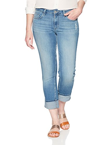 Collection Modern (Riders by Lee Indigo Women's Modern Collection Roll Cuff Straight Leg Denim Cropped Jean, Light wash, 18 AVG)