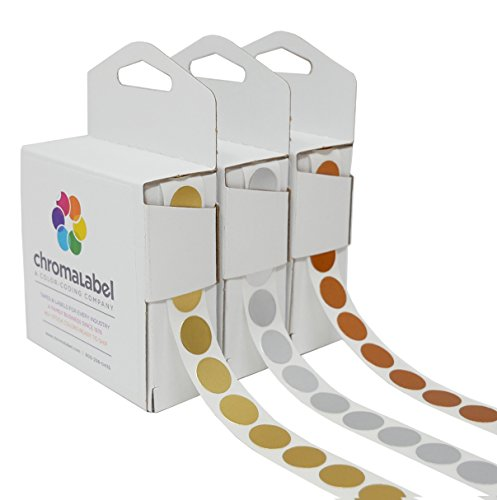 "1/2"" Assorted Metallic Dot Stickers Variety Kit (Gold, Silver & Bronze) — 1,000 Shiny Labels per Dispenser Box (3,000 Foil 0.5 in. Dots Total)"