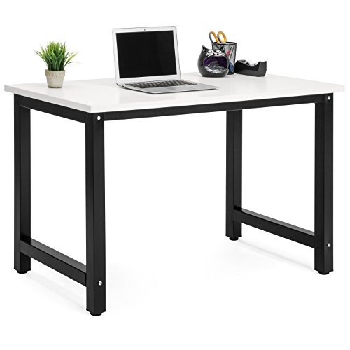 Best Choice Products Large Modern Computer Table Writing Office Desk Workstation - White/Black by Best Choice Products