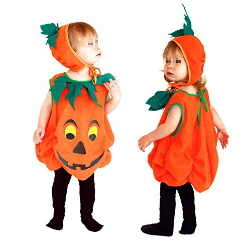 Halloween Costumes for Children Unisex Kids Pumpkin Cosplay Pajamas Christmas Stage Performance Dress Orange M