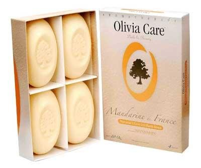 Olivia Care French Natural Olive Oil Bar Soap - 4 Pack Mandarin (Care Olive)