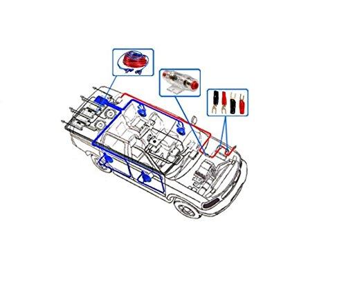takestop Kit complet de c/âbles dalimentation RCA pour amplificateur audio de voiture