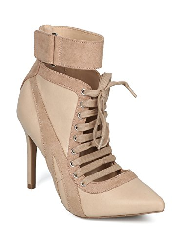 Alrisco Women Pointy Toe Lace Up Ankle Cuff Stiletto Bootie HF14 - Natural Leatherette (Size: (Leatherette Stiletto Heel)