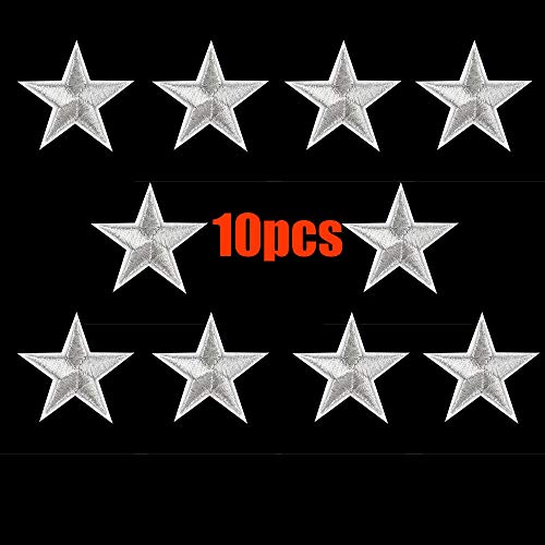 (❤Ywoow❤ Sleep Eliminate, 10PCs Silver Stars Embroidered Badges Iron On Patches Motif Applique)