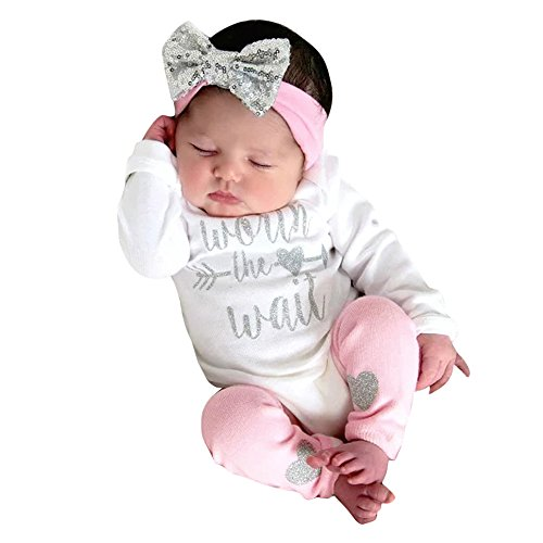 WOCACHI Toddler Baby Girls Clothes, Newborn Infant Baby Girls Letter Romper Jumpsuit Leggings 3Pcs Outfits Set Sundress Mom Daughter Son Coverall Layette Sets Best Gift Multi Essentials 0-3M White]()