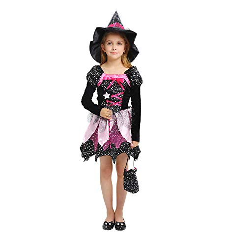 (Memory meteor Worst Witch Costume,Kids Wiched Witch Halloween Spooky Fancy Dress)