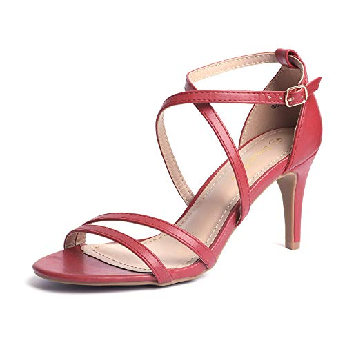 (DREAM PAIRS Women's Gigi Red Pu Fashion Stilettos Open Toe Pump Heeled Sandals Size 8 B(M))