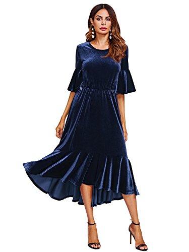 blue velvet midi dress - 7