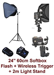 Studio Portable Hot Shoe Flash Softbox Stand Kit with Flash and Wireless Remote Trigger for Canon, Nikon, Panasonic, Leica, Pentac, Olympus DSLR camera