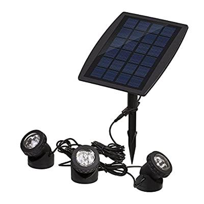 Solar Powered Adjustable Waterproof Outdoor Security Night Light 18 LEDs Landscape Spotlight Projection Light with 3 Submersible Lamps for Garden Pool Pond Outdoor Decoration & Lighting, Warm White