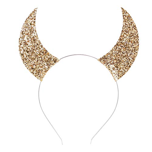 FEDULK Women Girls Halloween Headband Shiny Hair