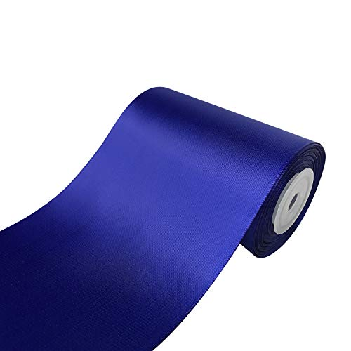 QIANF 4 inch Wide Solid Color No Fading Double Face Satin Ribbon Great for Chair Sash - 10 Yard (477-Royal Blue) ()