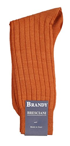 - Rare Long Mid-Calf 100% Linen Socks - One Pair Brandy Large