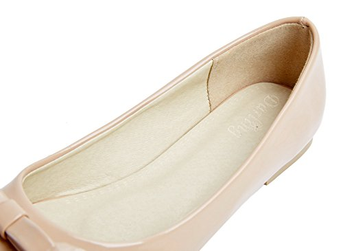 VogueZone009 Women's Pull-On Closed-Toe No-Heel PU Solid Pumps-Shoes Nude wlxGspQL2