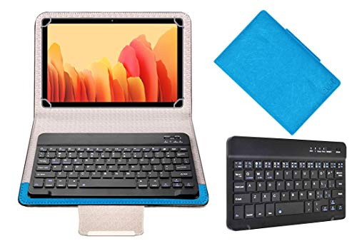 Acm Wireless Bluetooth Keyboard Case Compatible with Samsung Galaxy Tab A7 LTE Tablet Flip Cover Stand Study Gaming Blue