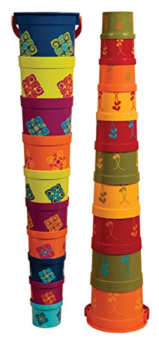 B toys by Battat – Bazillion Buckets Nesting Cups – 10 Colorful Stacking Cups for Kids 18m +