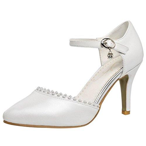 FANIMILA Mujer Moda Solid Verano Cerrado Tacon de Aguja Sandalias Correa de tobillo Zapatos Blanco