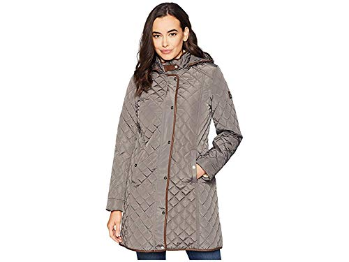 Hooded 3/4 Length Leather Coat - LAUREN RALPH LAUREN Women's 3/4 Hooded Quilt w/Faux Leather Tab Flannel Small