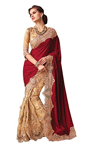 Vaaman Red & Beige Georgette Embroidered Saree With Match...