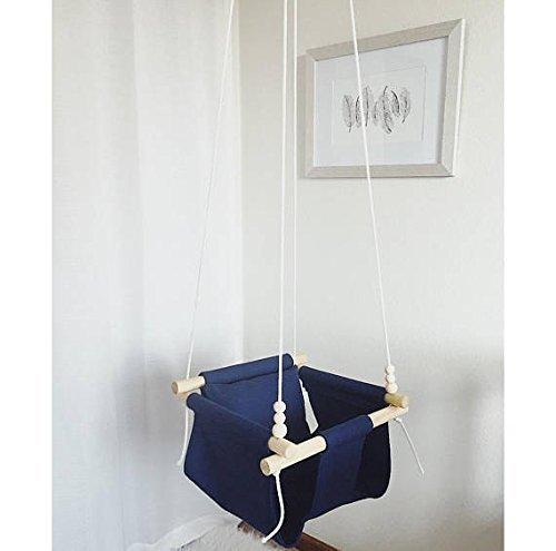 Indoor/Outdoor Navy Blue Fabric Baby Swing by Sweet Swinging