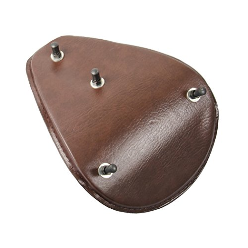 Amazicha Brown Leather Solo Seat 3'' Black Spring Mounting Bracket Kit For Harley Honda Yamaha Suzuki Sportster Bobber Chopper by Amazicha (Image #3)