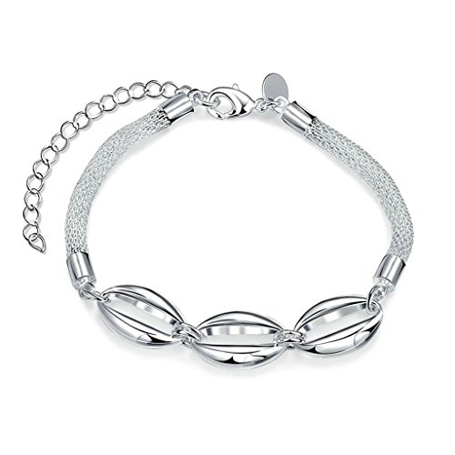 AmDxD Jewerly Gold Plated Women Charm Bracelet Silver 3 Oval Bells 20CM with 5CM Extension - Bell Map Shops Tower