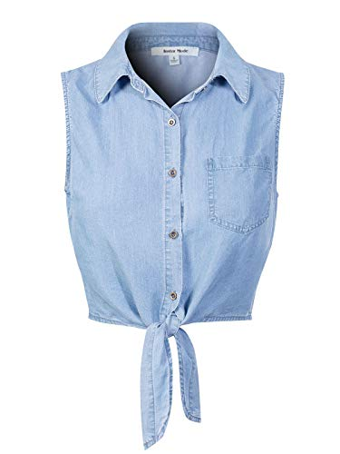Design by Olivia Women's Sleeveless Button Down Tie Front Knot Chambray Shirts Light Denim S