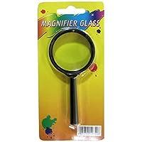 Lupe, Vergrößerungsglas, Kunststoffrahmen, 45mm im Ø , Griff 60mm lang, Farbe schwarz, echtes Glas
